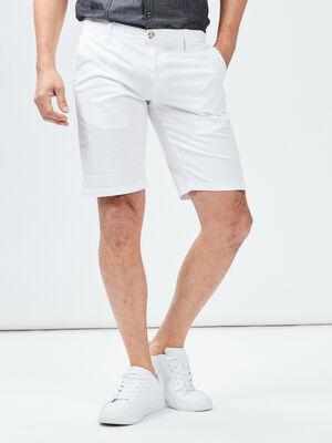 Bermuda straight blanc homme