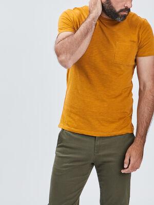T shirt manches courtes jaune moutarde homme