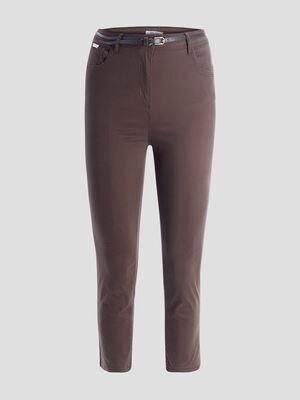 Pantalon slim ceinture vert kaki femmegt