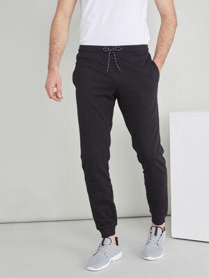 Jogging uni coton melange noir homme