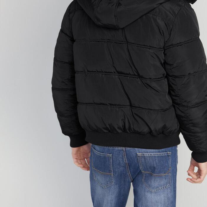 Doudoune boutonnée à capuche homme noir