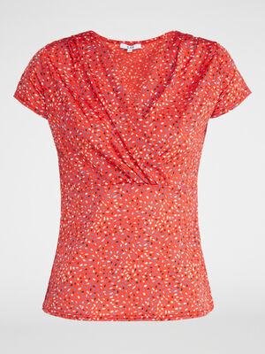 T shirt imprime decollete cache coeur rouge femme