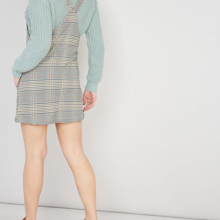 Robe salopette Prince-de-Galles femme vert kaki