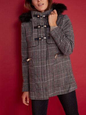 Manteau a carreaux et brandebourgs multicolore femme