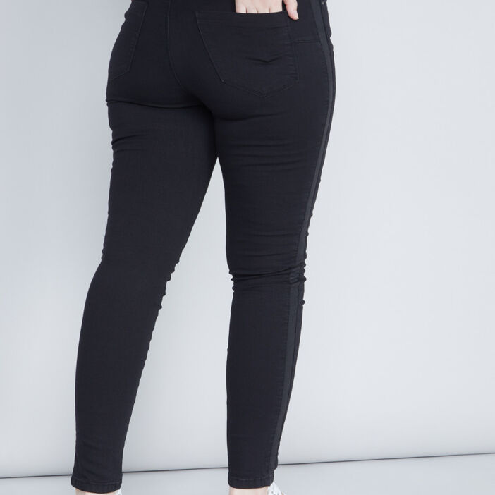 Jean slim à bandes latérales femme grande taille noir