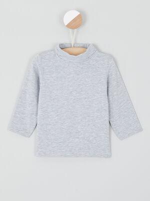 T shirt col roule coton majoritaire gris garcon