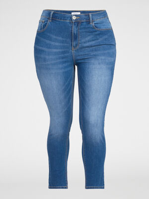 Jean slim cropped 5 poches denim double stone femme