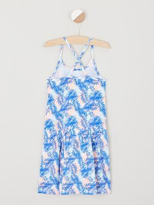 Robe patineuse imprimee avec bretelles bleu marine fille