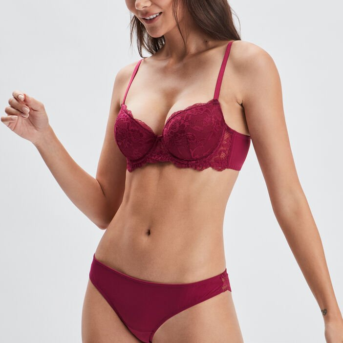 Soutien-gorge corbeille femme rose framboise