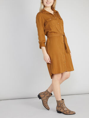 Robe chemise manches a retrousser camel femme