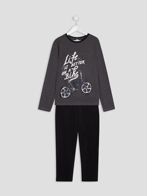 Ensemble pyjama 2 pieces gris garcon
