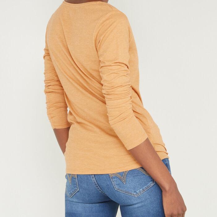 T-shirt uni à col rond femme jaune moutarde