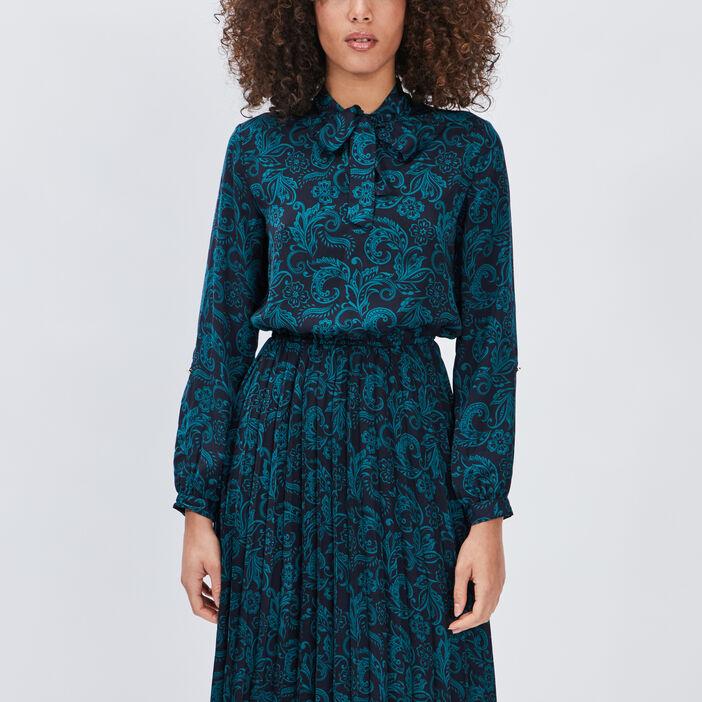 Robe longue évasée plissée femme bleu