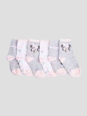 Lot 3 chaussettes Minnie rose poudree bebef