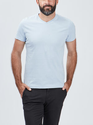 T shirt manches courtes bleu ciel homme