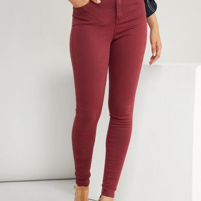 Jean taille haute coupe skinny femme prune