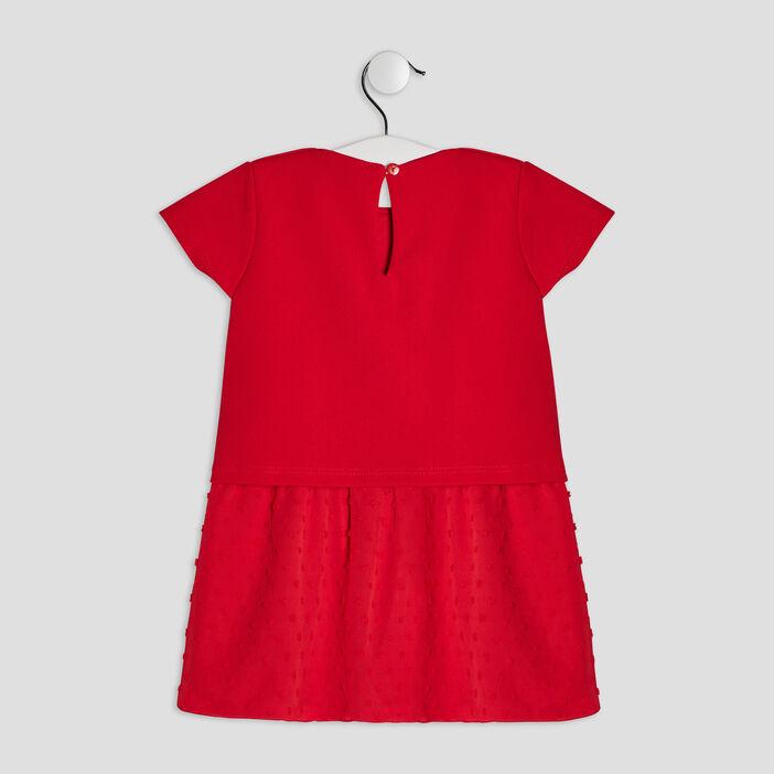 Robe évasée manches courtes bébé fille rouge