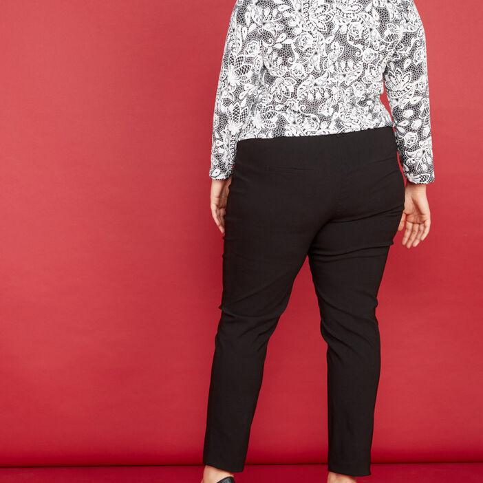 Pantalon droit uni femme grande taille noir