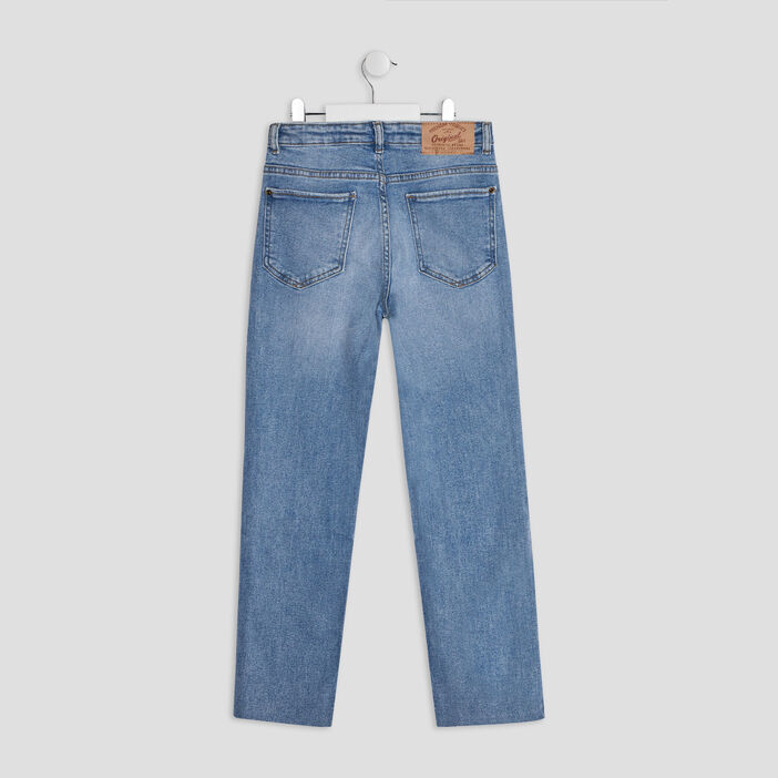 Jeans straight taille ajustable fille denim double stone