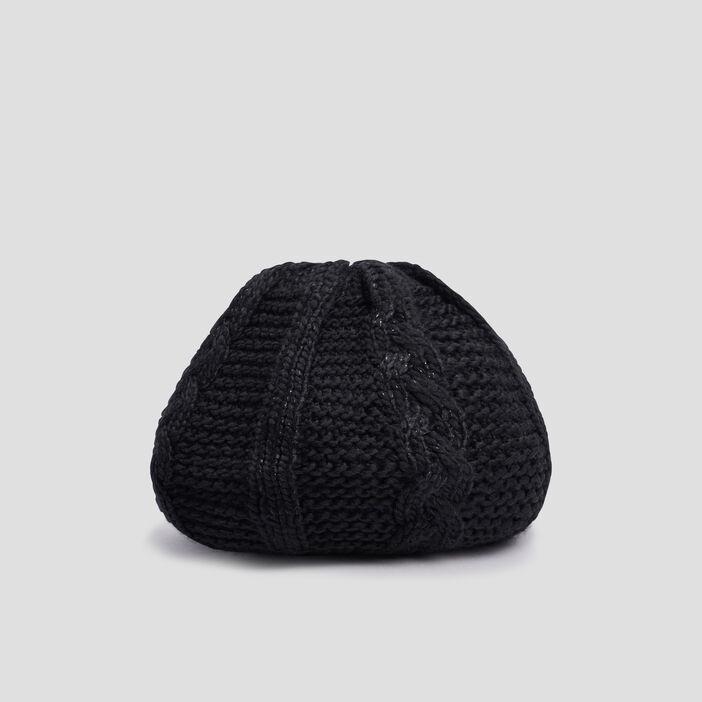 Béret tricoté avec torsades femme noir