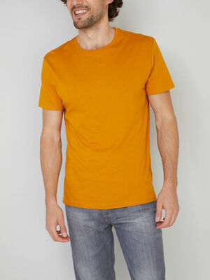 T shirt col rond uni jaune moutarde homme