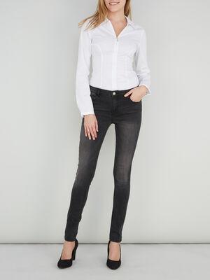 Jeans slim taille standard denim snow noir femme