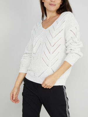 Pull touches irisees a motifs ajoures ecru femme