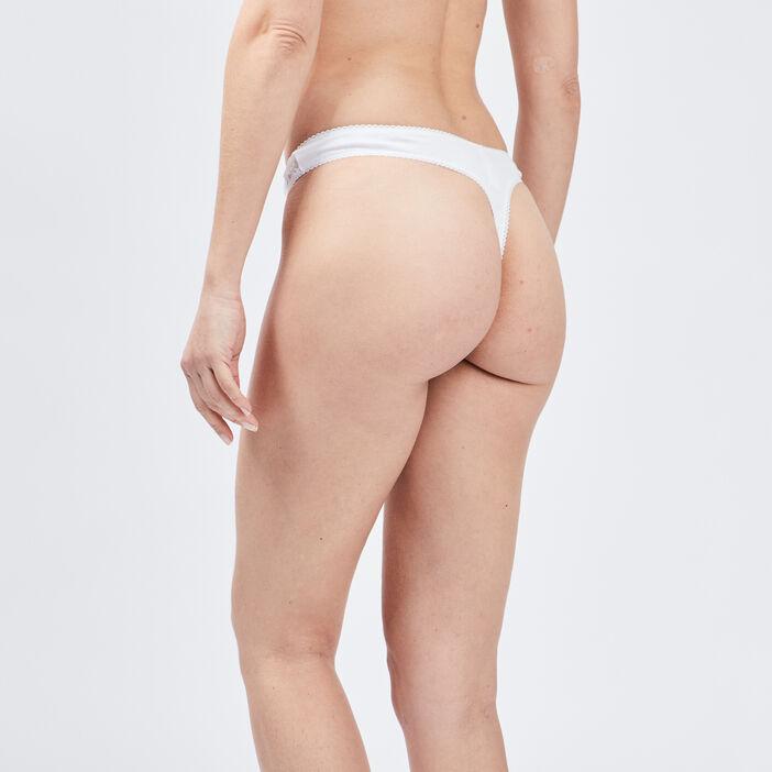 String avec dentelle femme blanc