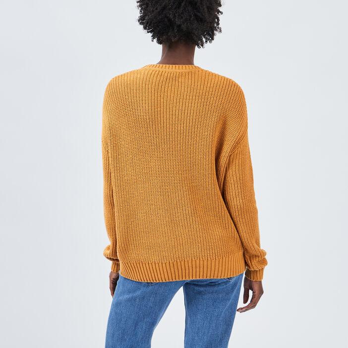 Pull manches longues ajouré femme jaune moutarde