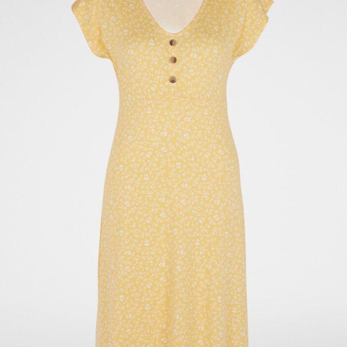 Robe imprimée évasée manches courtes femme jaune