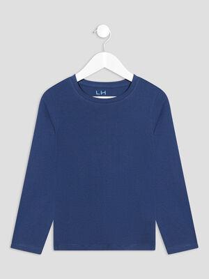T shirt manches longues bleu fonce garcon