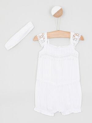 Ensemble coton combi short bandeau blanc bebef