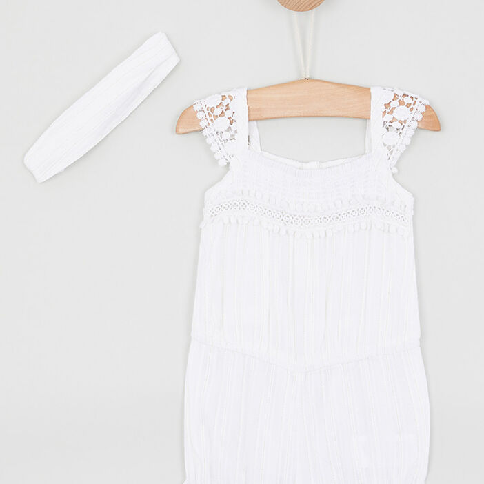 Ensemble coton combi-short + bandeau bébé fille blanc