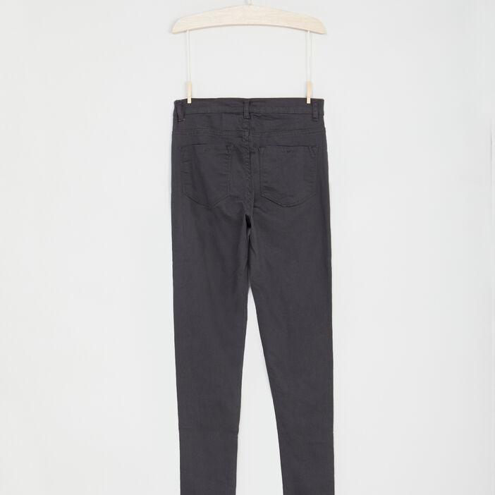 Pantalon droit uni fille gris foncé
