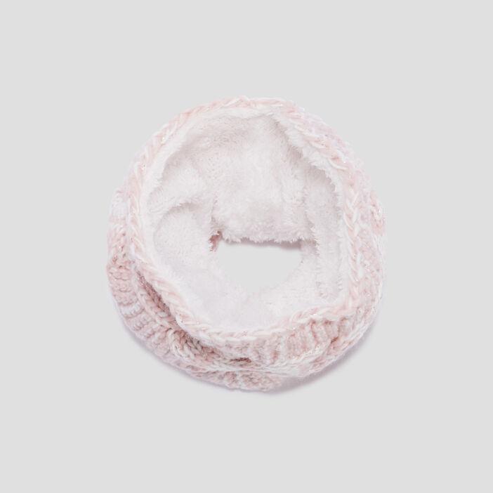 Snood fourré à torsades mixte rose