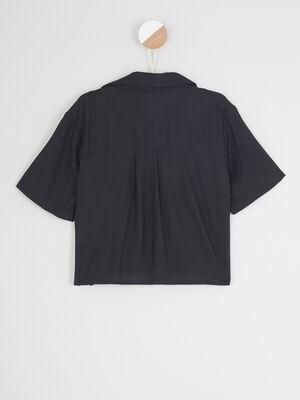 T shirt col rond imprime place noir fille