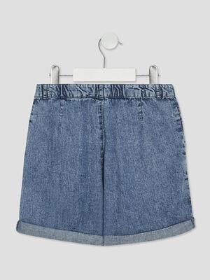 Short droit en jean bleu fille