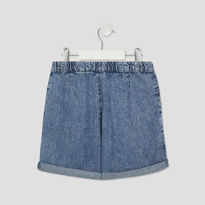Short droit en jean fille bleu