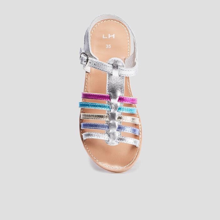 Sandales irisées en cuir fille multicolore