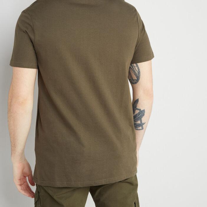 T-shirt col V en coton homme vert kaki