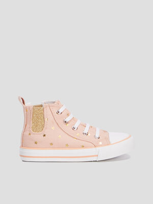 Baskets montantes rose fille