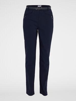Pantalon droit extensible ceinture bleu marine femme