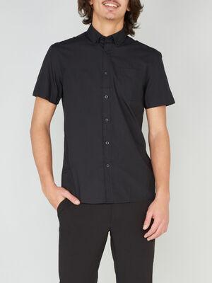 Chemise regular unie manches courtes noir homme