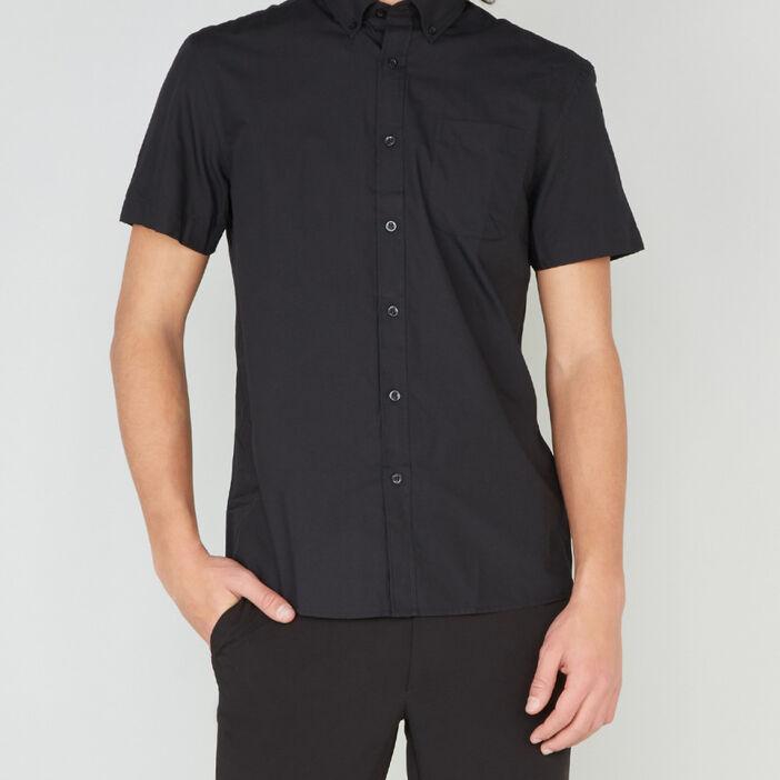 Chemise regular unie manches courtes homme noir