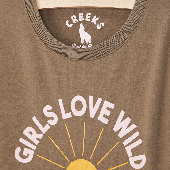T-shirt manches longues avec imprimé fille vert kaki