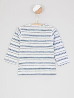T shirt en coton raye ecru bebeg