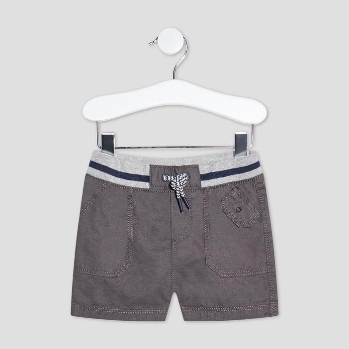 Bermuda droit à taille élastiquée bébé garçon gris foncé