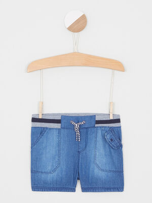 short elastique en coton denim double stone bebeg