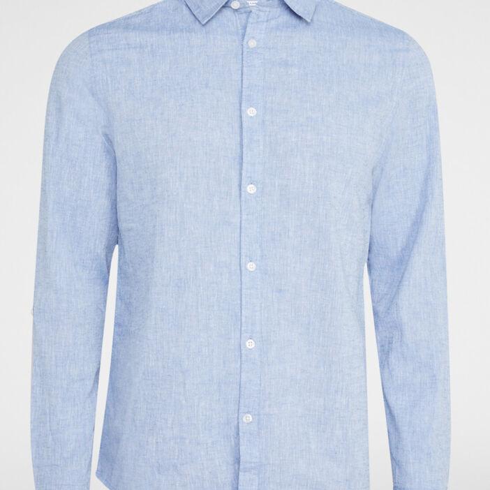 Chemise droite coton majoritaire homme bleu turquoise