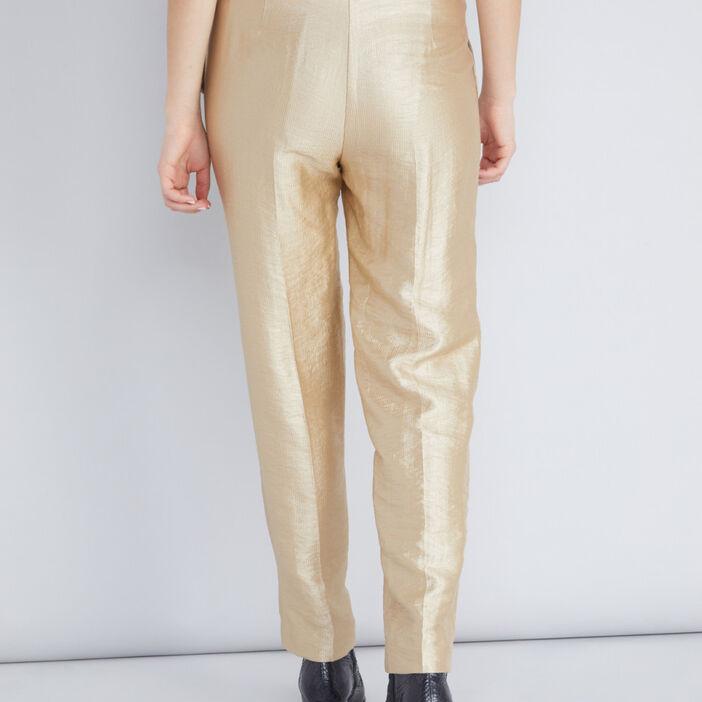 pantalon de costume doré femme jaune moutarde
